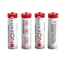 Батарейки - Батарейка солевая LuazON Heavy Duty, AA, R6, спайка, 4 шт, 0