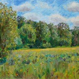 """Картины, постеры, гобелены, панно - картина маслом """"В поле у леса. Конец мая"""", 0"""