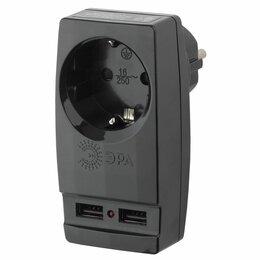 Зарядные устройства и адаптеры - Адаптер SP-1e-USB 1гн 220В + 2USB 2100mA с зазем. черный ЭРА, 0