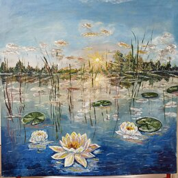 Картины, постеры, гобелены, панно - Кувшинки лилии живопись картины, 0