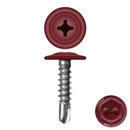 Шурупы и саморезы - Caморез ПШС по металлу 4,2х19 RAL3005 Красное вино прессшайба сверло, 0
