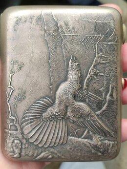 Пепельницы и зажигалки - серебряный портсигар Глухарь,серебро 875 проба, 0