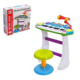 Детские музыкальные инструменты - Напольный синтезатор «Лучший музыкант», со стульчиком и микрофоном, 0