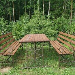 Комплекты садовой мебели - Садовый комплект стол и лавки из металла, 0
