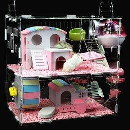 Клетки и домики  - Клетка для хомяков, акриловая. Два этажа, 0