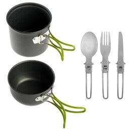 Туристическая посуда - Maclay Набор посуды туристический, 2 кастрюли, складная вилка, ложка, нож, в ..., 0