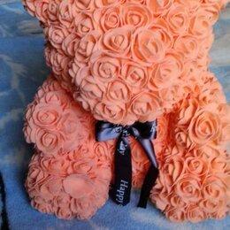 Цветы, букеты, композиции - Мишка из роз персикового цвета, 0