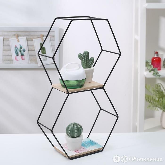 Полка 2-х ярусная Доляна «Лофт», 41×23,5×9,5 см, цвет чёрный по цене 1304₽ - Мебель для кухни, фото 0