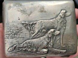Пепельницы и зажигалки - серебряный портсигар Охотничьи собаки,серебро…, 0