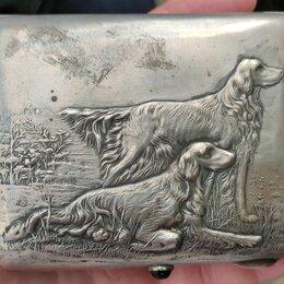 Пепельницы и зажигалки - серебряный портсигар Охотничьи собаки,серебро 875 проба, 0
