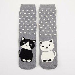 Домашняя одежда - Носки женские махровые «Котики» цвет серый, размер 36-40 (р-р 23-25), 0