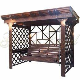 Садовые качели - Качели деревянные пергола с крышей, 0