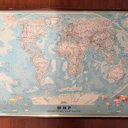 Гравюры, литографии, карты - Настенная немного раритетная политическая карта мира 2005 года, 0