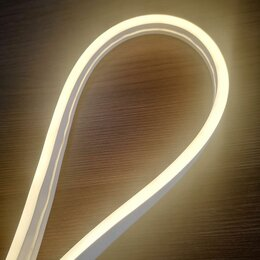 Светодиодные ленты - Белый тёплый гибкий неон 12 В, 6*12 мм, кратность реза 25 мм. Эконом класс., 0