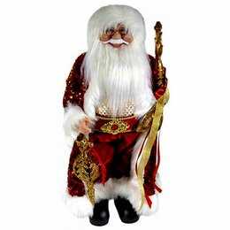 Игровые наборы и фигурки - Дед Мороз с игрушкой и посохом красный костюм, 45см, 0