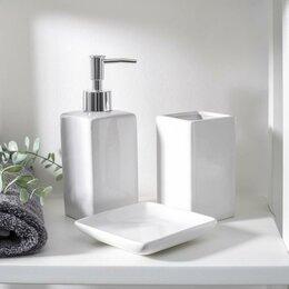 Мыльницы, стаканы и дозаторы - Набор для ванной «Лодж», 3 предмета (мыльница, дозатор для мыла 350 мл, стака..., 0