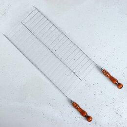 Решетки - Решетка-гриль 25 х 50 см с деревянными ручками, 0
