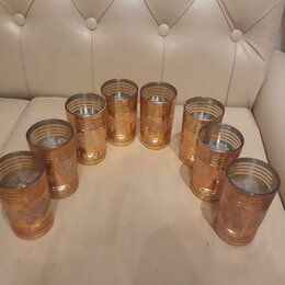 Бокалы и стаканы - Золотые стаканы. Корея. 8 штук, 0