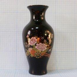 Вазы - ЦВЕТОЧНАЯ ПОВОЗКА ваза ~14,5см золотая 24-каратная роспись фарфор Япония 1970е, 0