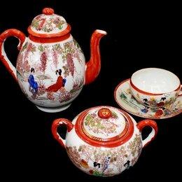 Посуда - чайная пара +чайник +сахарница прозрачный старинный фарфор ручная роспись Япония, 0