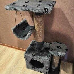 Когтеточки и комплексы  - Домик когтеточка для кошек 2 этажа с качелью Новый, 0