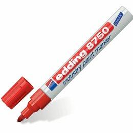 Фактурные декоративные покрытия - Маркер-краска лаковый (paint marker) EDDING 8750, КРАСНЫЙ, 2-4 мм, круглый након, 0