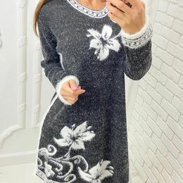 Платья - Тёплое вязаное платье р-ры 44-58, 0