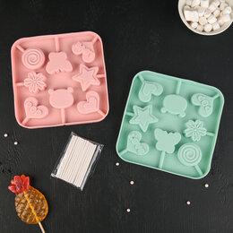 Формы для льда и десертов - Форма для леденцов «Сладость», 6×6×1,8 см, 8 ячеек, цвет МИКС, 0