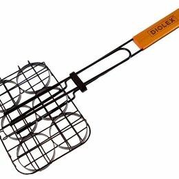 Решетки - Решетка-гриль Diolex DX-G1911-B для гамбургеров 20x15cm на 6 порций (сталь с ..., 0