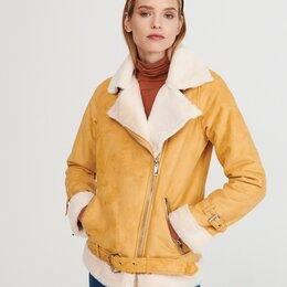 Дубленки - Куртка в байкерском стиле из материала, имитирующего замшу, 0