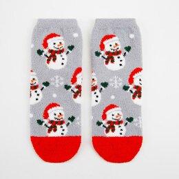Домашняя одежда - Носки женские махра-пенка Нжмп2258-22-06 Снеговики с подарками цвет серый, р-..., 0