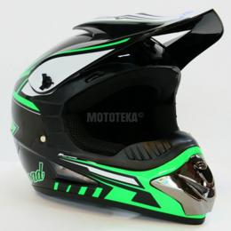 Спортивная защита - Шлем Motax (Мотакс) детский кроссовый глянцево-черный-зеленый (G2), 0