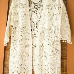 Блузки и кофточки - Белая кофта-накидка летняя, вязанный ажурный кардиган., 0