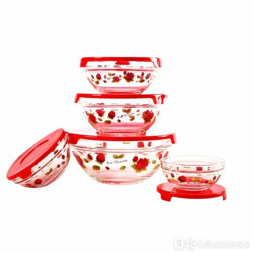 Набор стеклянных салатников с крышками GLSA-5-004 по цене 457₽ - Наборы посуды для готовки, фото 0