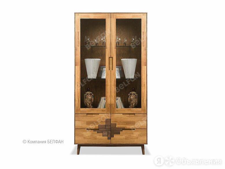 """Шкаф с витриной 2-х дверный """"Irving Design""""; 4 ящика; бейц-масло, графит по цене 133024₽ - Шкафы, стенки, гарнитуры, фото 0"""
