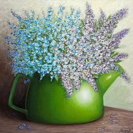 """Картины, постеры, гобелены, панно - Картина с багетом """"Чайничек с цветами"""" 30х30 см, масло, холст, 0"""