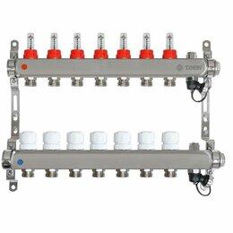 Коллекторы - Коллектор для теплого пола на 7 контуров Taen с расходомерами (гребенка), 0