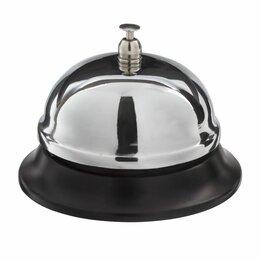Мебель для учреждений - Звонок настольный для ресепшн, хромированный, диаметр 8,5 см, BRAUBERG, 454410, , 0