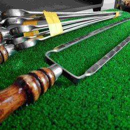 Шампуры - Двойной шампур с деревянной ручкой (шампур-вилка), 10х3 мм, 40 см, 0