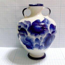 Вазы - ЦВЕТЫ ваза с ручками миниатюра вазочка 10,6см фарфор ГЖЕЛЬ РФЗ, 0