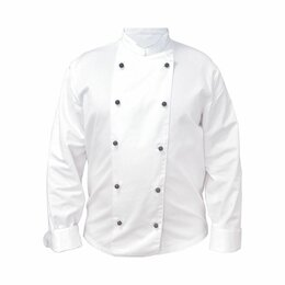 Одежда и аксессуары - Куртка поварская Chef XL с длинным рукавом и черными пуклями, состав: 65% полиэс, 0