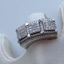 Кольца и перстни - золотой перстень прямоугольник белое золото 585, 0