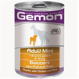 Корма  - GEMON DOG MINI консервы для собак мелких пород кусочки курицы с рисом 415г , 0