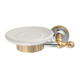 Мыльницы, стаканы и дозаторы - Migliore Mirella Мыльница настенная, керамика, хром, золото 27670+29849, 0