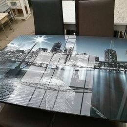 Столы и столики - Стол со стеклом массив и хром раскладной. , 0
