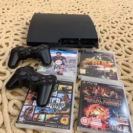 Игровые приставки - Sony Playstation 3 Slim на 320gb,Прошита +2 Dualshock, 0
