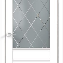 Межкомнатные двери - Межкомнатные двери Экошпон ALTO 2V  цвет Белый Эмалит стекло РОМБ светлый 600..., 0