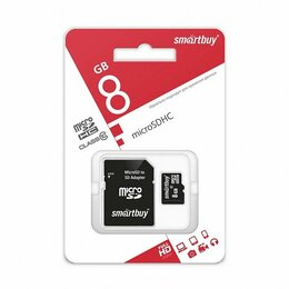 Карты памяти - КАРТА ПАМЯТИ SMART BUY  microSDHC 8GB CLASS10+АДАП, 0