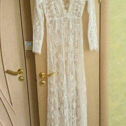Платья - Белый кружевной пеньюар, платье, 0