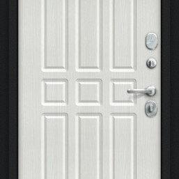Входные двери - Дверь входная Мило 104.52 NEW Букле черное/Bianco Veralinga, 0
